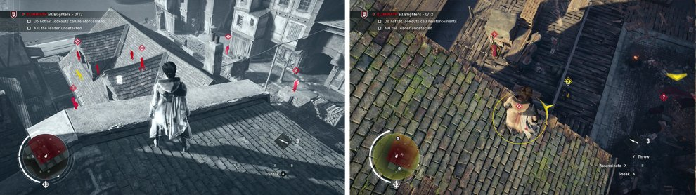 Tag the enemies using Eagle Vision from the rooftops (left). The Leader can be found in a loading area by the waterfront (right).