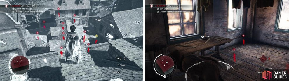 Tag the enemies using Eagle Vision from the rooftops (left). The heist plans can be found in the building in the south of the area (right).