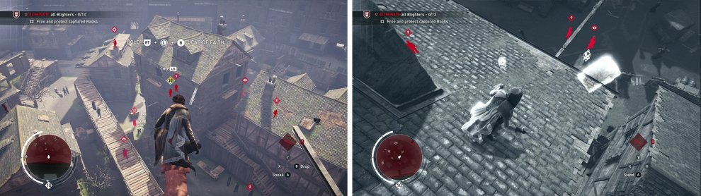 Tag the enemies using Eagle Vision from the rooftops (left). The first Rook is located in the courtyard (right).