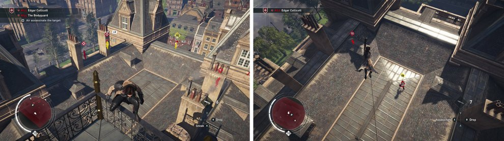 Both targets can be found on the roof (left). Use your Rope Launcher to air assassinate them via zip lines (right).