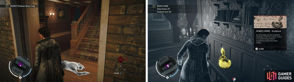 Investigate the body (left) before looting the nearby clues (right).