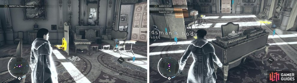Inspect the body (left) and then the clues in the Queen's Office search area (right).