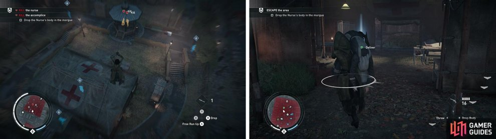 The targets will occasionally come together in the gazebo (left). After killing them throw the nurse's body in the morgue for the optional objective (right).