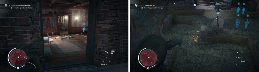 Investigate the body in the building (left). Use a hallucinogenic dart on the target to have the guards kill him (right).