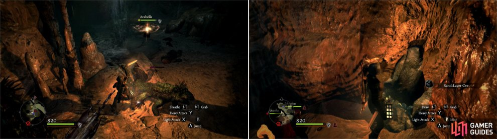 Hack apart the Saurians dwelling in the caves under Cassardis (left). While down here, mine the ore veins to obtain some rare Sand-Layer Ore (right).