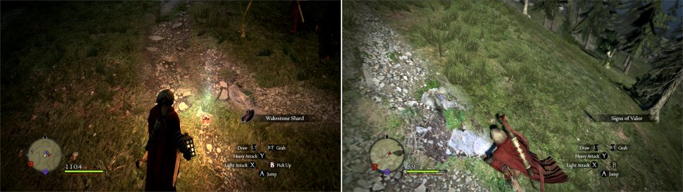 On Hillfigure Knoll, you'll find a Wakestone Shard near a bush (left). Search the Hillfigure's spear to obtain Signs of Valor (right).