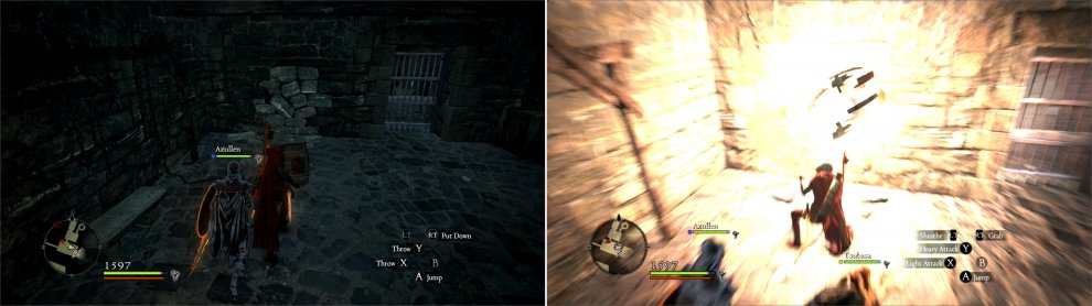 Grab an explosive barrel (left) and chuck it into a weak section of wall to make a passage (right).