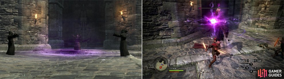 Reach the roof to find Salvation engaged in a dark ritual (left). After a sacrifice, you'll have to fend off a pair of Wights and their undead guardians (right).