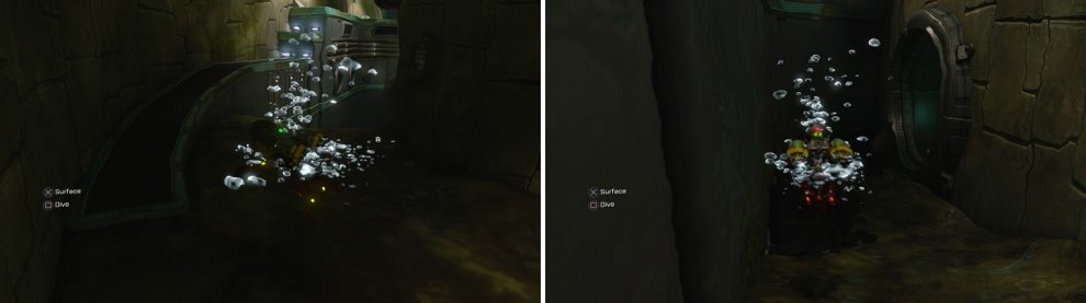 In the sewers, look for the ramp (left) and you will see an opening in the waters below it (right), leading to the Gold Bolt.