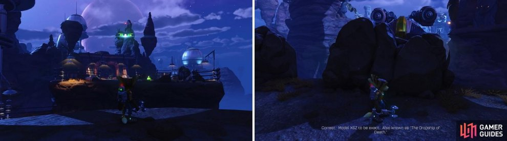 The little targets in the air (left) signify that you can use the Swingshot. Use the rock walls (right) to protect yourself from the Dropship's fire.
