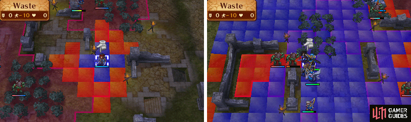 Look at the difference between a foot unit and a flying unit on a Waste-terrain tile!