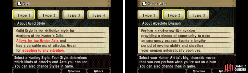 Select your starting hunting style and art(s). Don't worry, you can change them later!