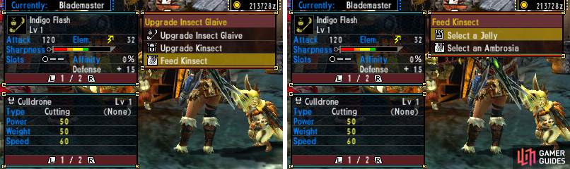 Insect Glaive Upgrade Menu. It's a bit more complicated.