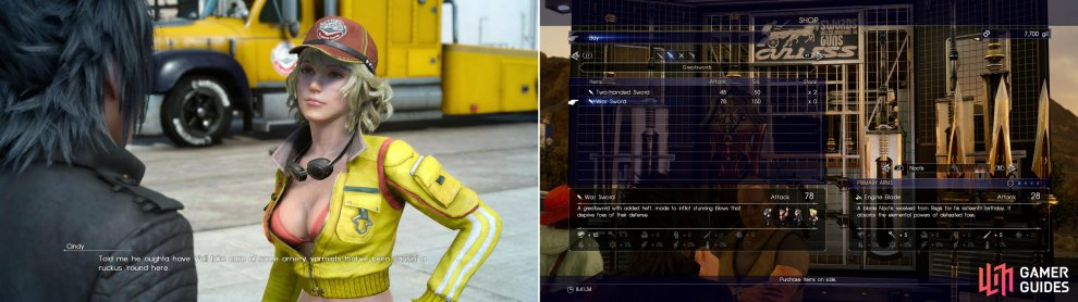 Cindy will give you some starting cash, and a bit of work to do while you wait (left). While you don't have much in the way of funds right now, buying a few weapon upgrades may be worth the Gil (right).