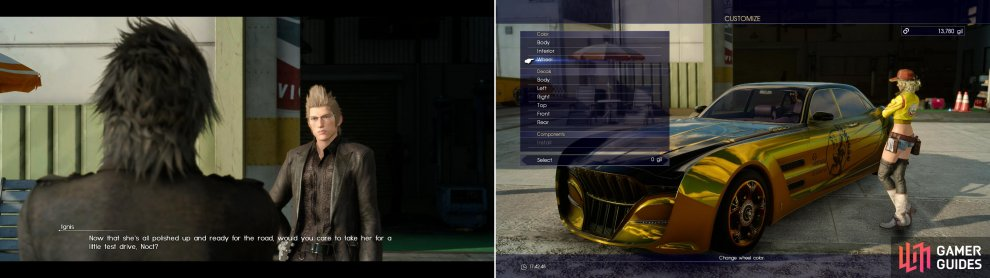 Now that the Regalia is repaired, Ignis is willing to temporarily give you the keys (left). You can customize the Regalia by bringing it back to Cindy (right).