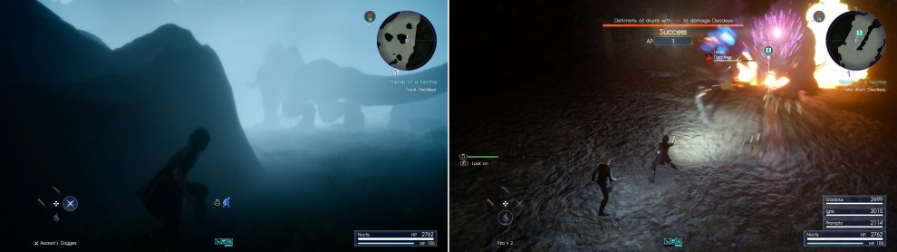 Sneak behind Deadeye, staying out of sight as you track him back to his den (left). The fight against Deadeye can be trivialized by blasting explosive barrels with fire magic (right).