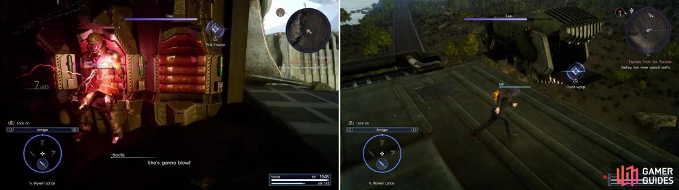 Look for a Shock Trooper in an airship then kill it to make it blow (left) after which you should warp (right) to the next ship.