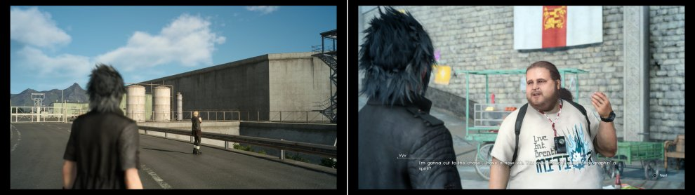 More imperial bases await Prompto's camera in Duscae and Cleigne (left), after which return to Vyv to get yet another, rather odd request (right).