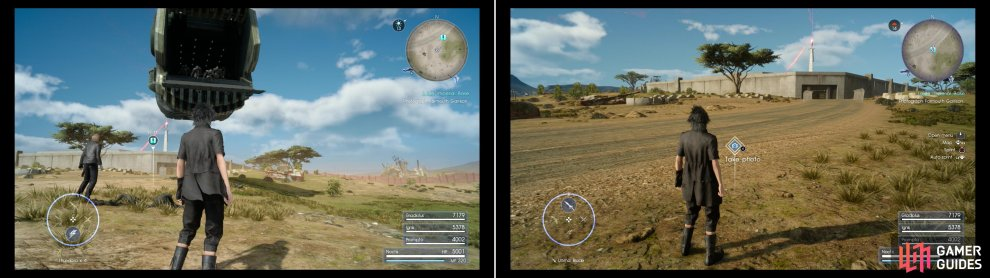 Expect to be pestered by imperial dropships as you go about trying to get your photos of their bases (left). Snap a photo of Formouth Garrison, near the Prairie Outpost (right).