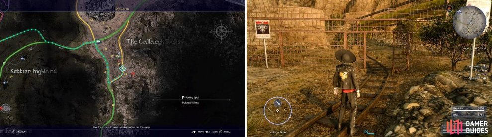 The location of Balouve Mines, both on the map (left) and in-game (right).