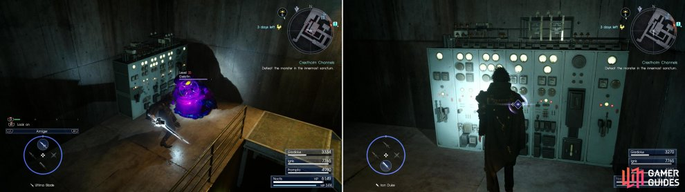 Kill the daemons near the second console (left) then activate it (right).