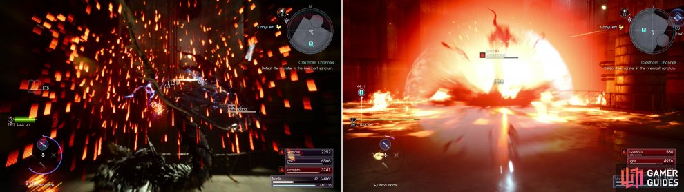 Jormungand likes using fire, including attacks like spitting fire into the air to have it rain down upon you (left), it can also create a blast of fiery energy centered on itself (right).