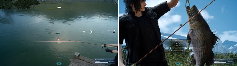 Tension is one of the most important aspects of fishing (left). With some Ascension abilities, you can get more items than normal from fishing (right).