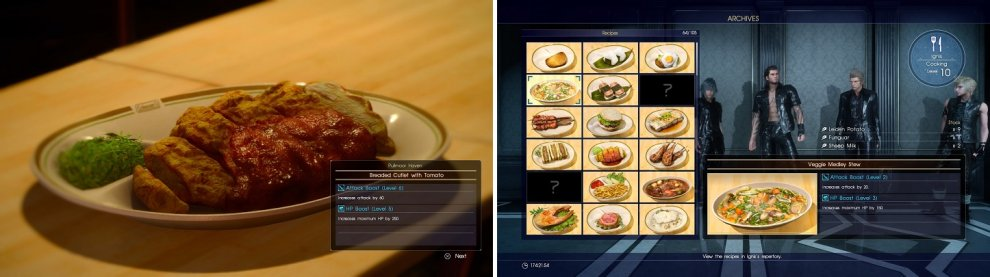You can only cook food at Havens (left). Archives lists all of the recipes you have learned (right).