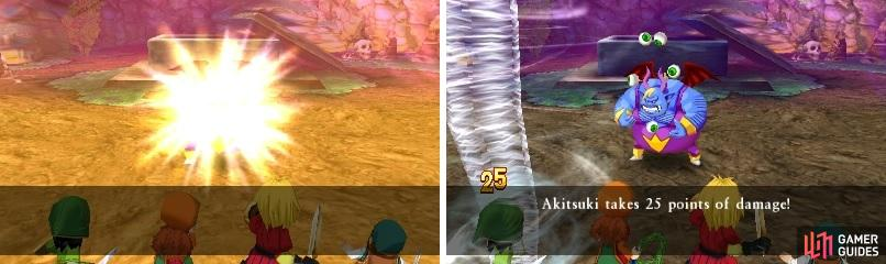 Hackrobat's shine move can Dazzle your characters (left), making them have a harder time hitting the boss. His wind move can deal some big damage to a single character (right).
