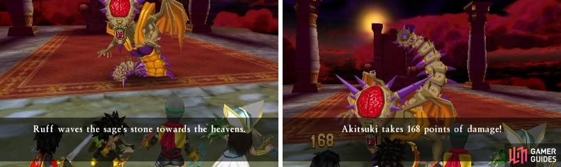 The Sage's Stone is a great item for healing (left). The tail attack in the second form hurts a lot (right).