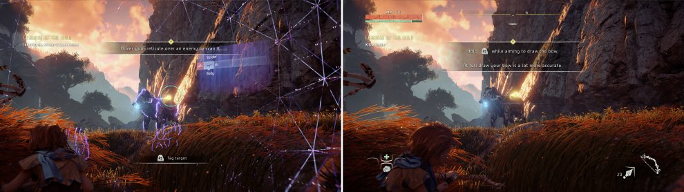 Scanning new enemies (left) is almost essential on harder difficulties. Get used to this and practice timing your shots (right) now.