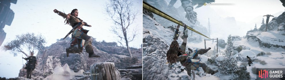 Facing impeding defeat, Aloy takes an unconventional route through the Proving (left). Braving dangerous conditions, use the alternative path to take the lead (right).