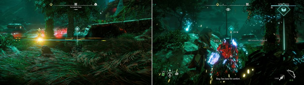 As in the last Corrupted Zone, you can use Lure Call to attract machine (left) and dispatch them quietly with Silent Strike (right).