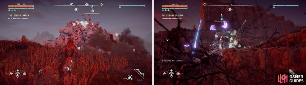 Freezing the Thunderjaw (left) and then using its own disc launcher against it (right) is the quickest way to bring one down.