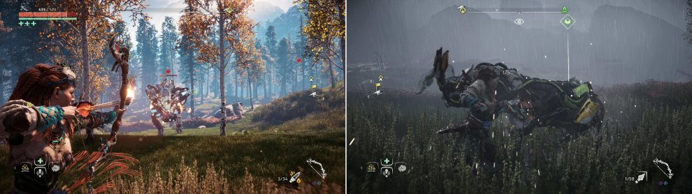 You can target the vulnerable Cargo Sac and Gullet of the Freeze Bellowback, or you can just pelt them with Fire Arrows (left). Broadheads, much like Chargers, are smaller herbivore-mimics that can be dispatched with Silent Strike (right).