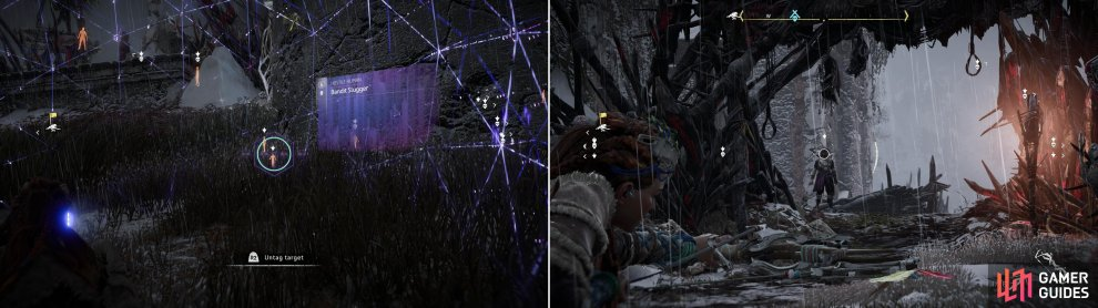 Scout the camp with your Focus and mark enemies (left) which will make picking off exposed targets from the edge of camp much easier (right).