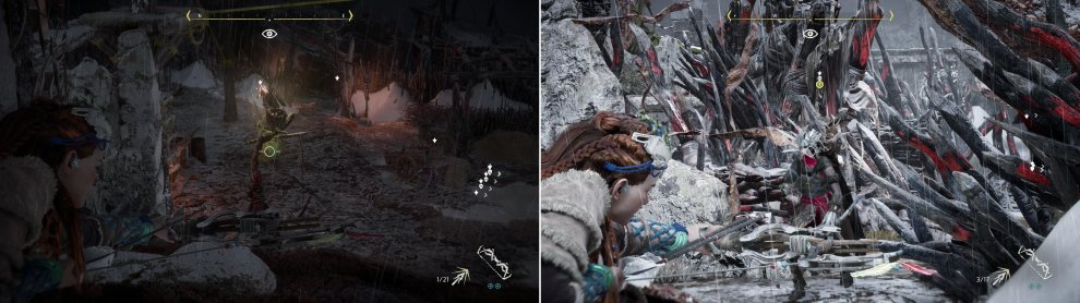 Disable the alarm in the northwestern corner of the camp (left). Not all targets will be easy to eliminate from afar (right) but Triple Shot should fell them before they can react.