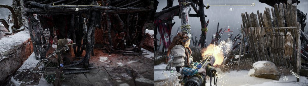Free some prisoners to provide extra support (left). You can commandeer the Firespitter from a defeated Heavy to finish the camp with a bang (right).