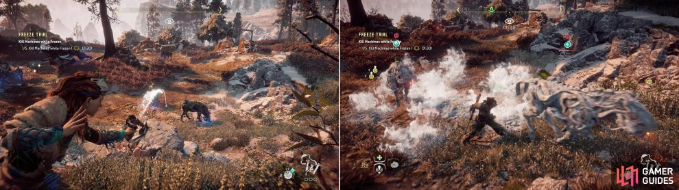 Use the Sling to freeze groups of Striders (left) then quickly dispatch them in melee (right).