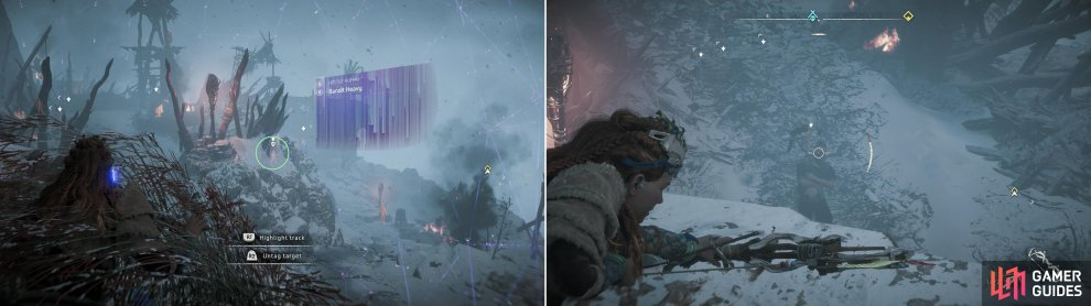 Scan and mark the locations of the Bandits (left) then pick off what Bandits you can from the ledge along the northwestern end of camp (right).