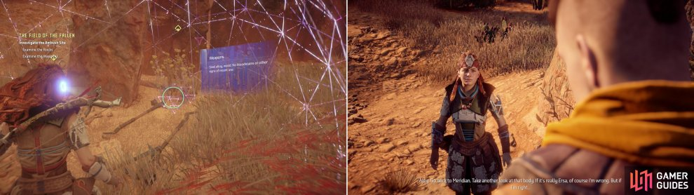 Search the real ambush site for clues about Ersa's fate (left) which leads Aloy to make a rather startling conclusion (right).