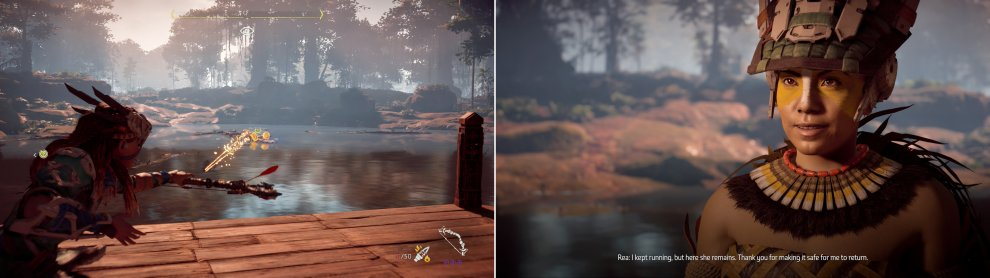 Destroy the Snapmaws infesting the water near the Lake Shrine (left) so Rea can reflect on her loss (right).