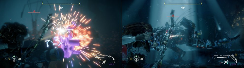 Shoot off the Thunderjaw's Disc Launcher (left), then pelt it with Freeze Arrows until it's frozen (right).