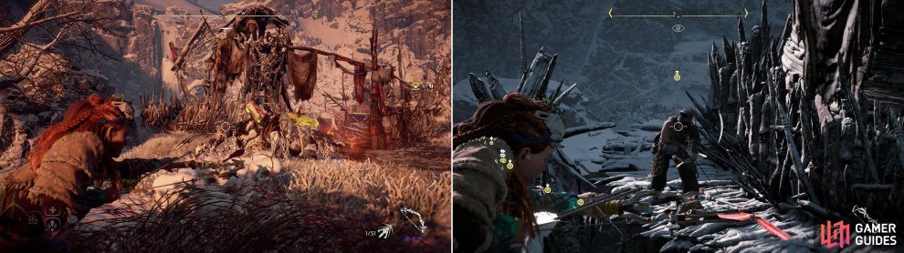 Metal Flower - Mark II (G) can be found north of Dervahl's camp (left), but you'll likely have to deal with a Stormbird to claim your prize (right).