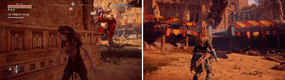 Lure the Behemoth into charging the pillars (left). This will knock down the platform, letting you regain your equipment (right).