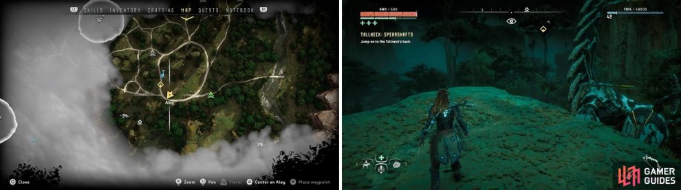 The location where to jump onto the Tallneck, both on the map (left) and in-game (right).