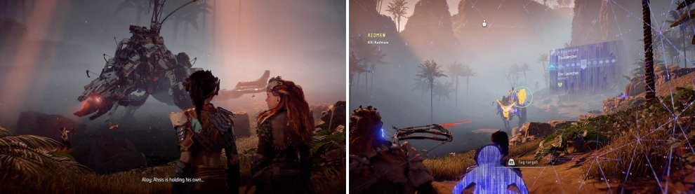 Redmaw may be menacing, but he's a normal Thunderjaw (left). He only has one disc launcher when you fight it (right).