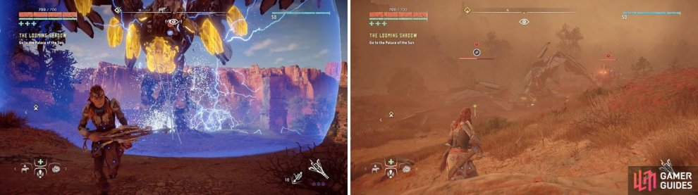The Stormbird will chase after you with the force-field active (left). Tieing down the Stormbird with the Ropecaster is an effective strategy to keep it grounded (right).