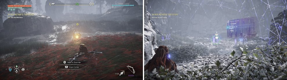 Use the tall grass to take out the Watchers surrounding Arana (left). The Scrapper shown is the one with the spear sticking out of it (right).