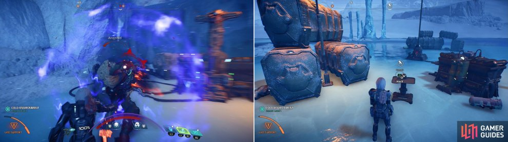 Clear out unmarked Kett camps (left) and search for randomly-spawning consoles (right) to start and advance this quest.
